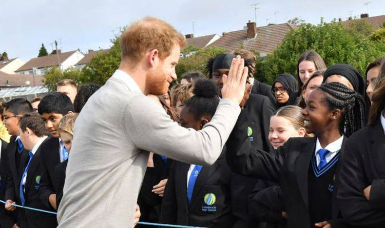 The British Royal Family: Prince Harry goes solo during school visit as Meghan launches fashion brand.  PRINCE HA...