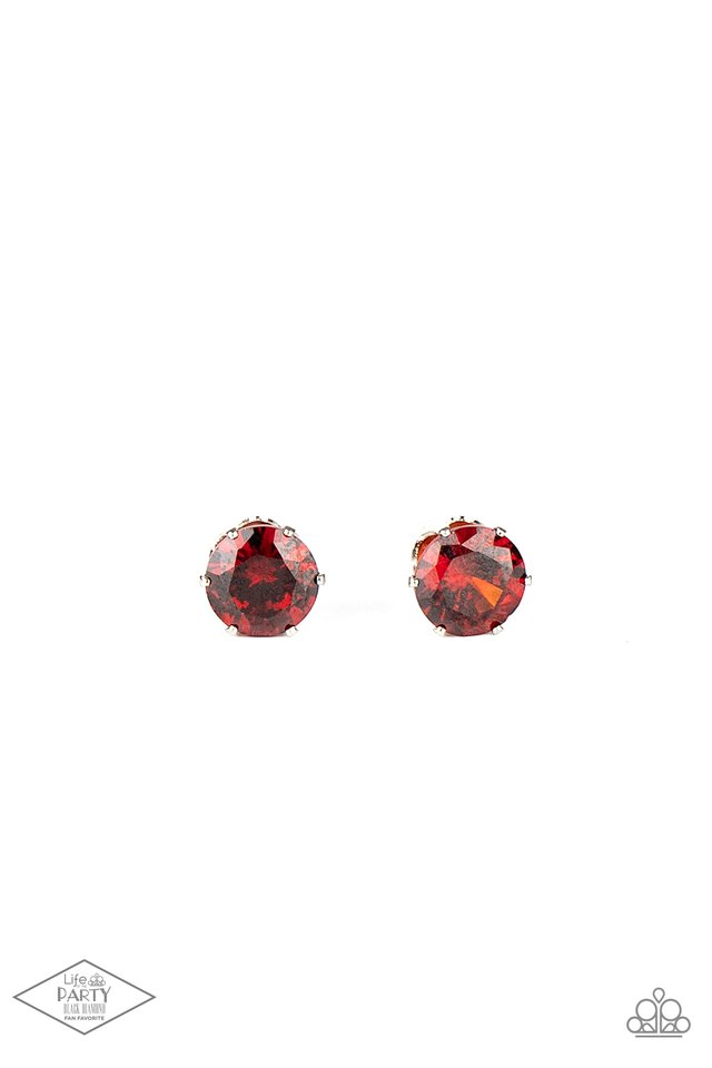 Greatest Treasure - Red Post - Paparazzi Earring Image