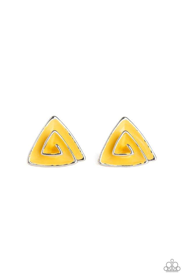 On Blast - Yellow - Paparazzi Earring Image