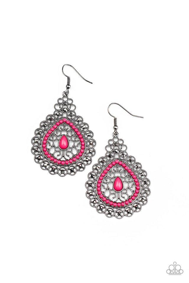 Carnival Courtesan - Pink - Paparazzi Earring Image