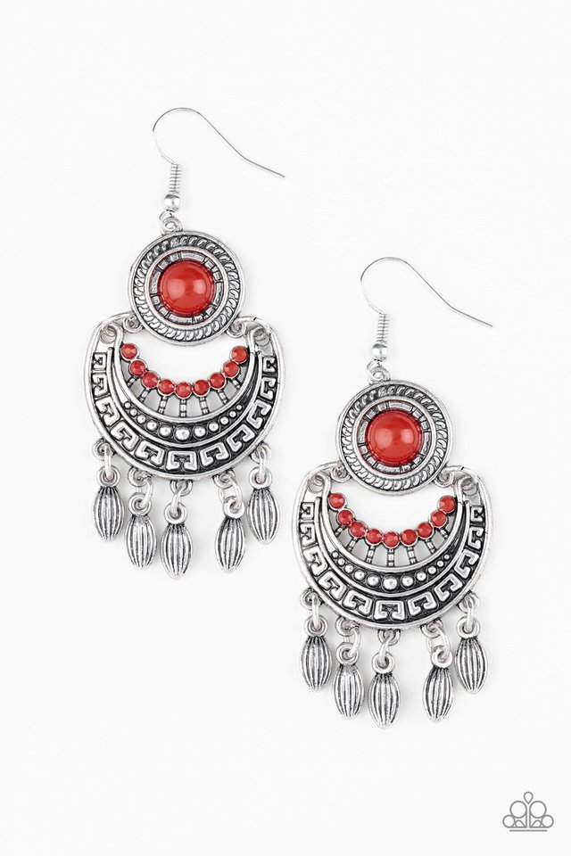 Mantra to Mantra - Red - Paparazzi Earring Image
