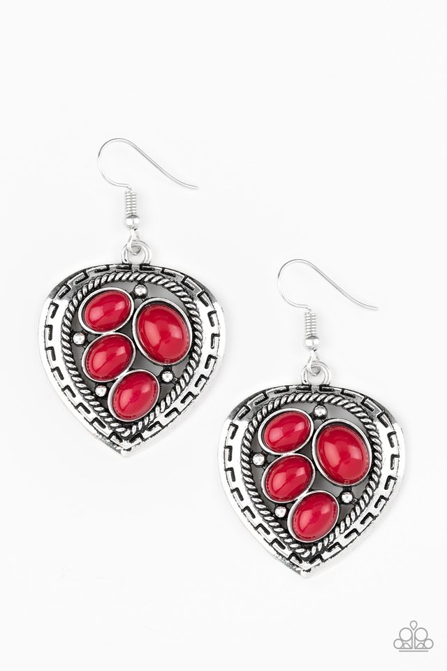 Wild Heart Wonder - Red - Paparazzi Earring Image