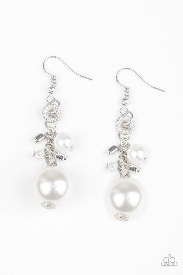 Timelessly Traditional - White - Paparazzi Earring Image