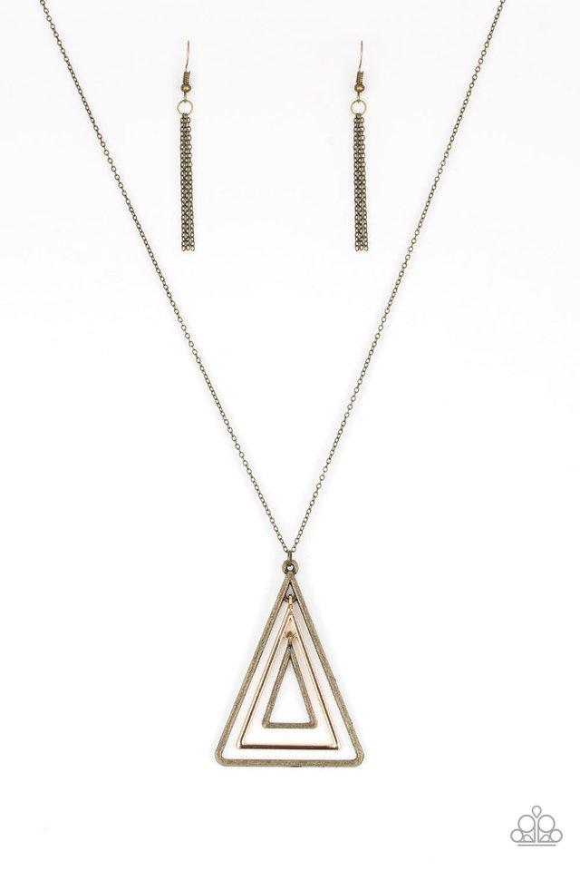 TRI Harder - Brass - Paparazzi Necklace Image