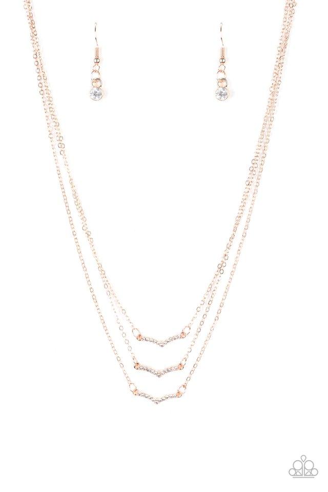 Pretty Petite - Rose Gold - Paparazzi Necklace Image