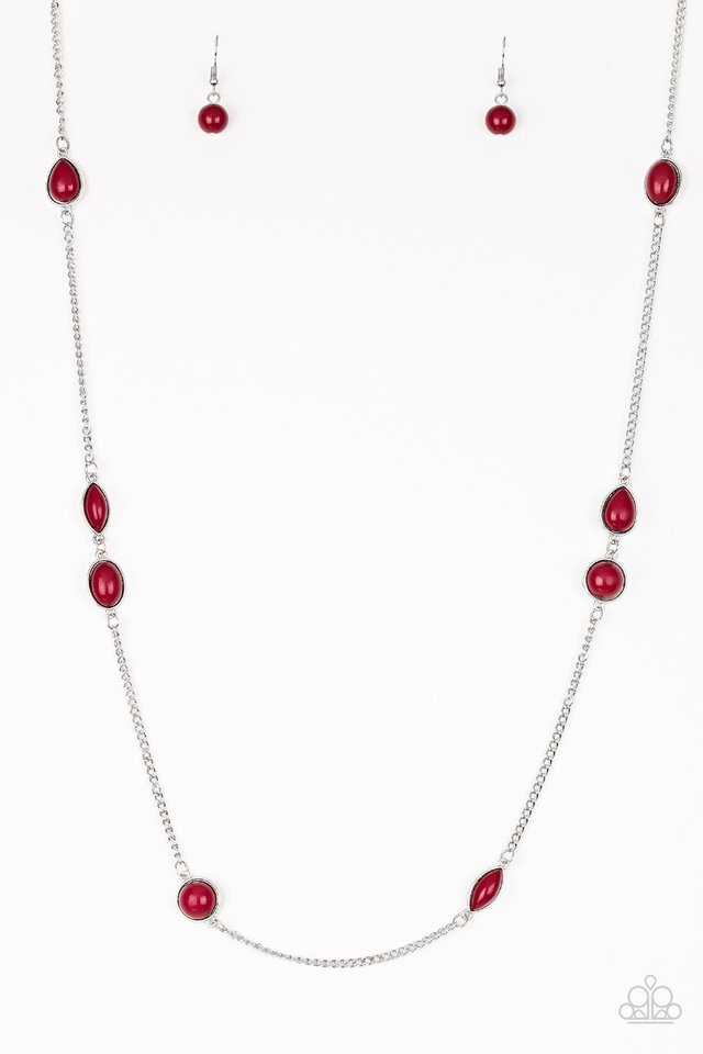 Pacific Piers - Red - Paparazzi Necklace Image