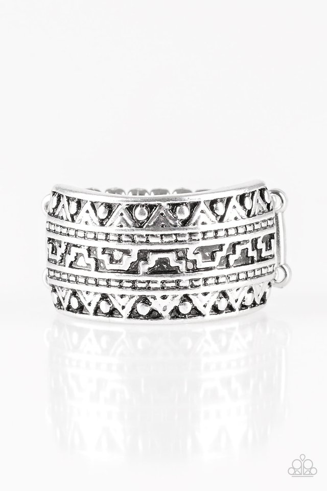 Textile Triumph - Silver - Paparazzi Ring Image