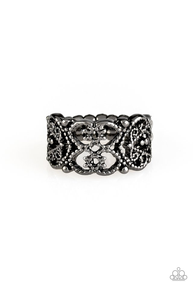 Tell Me How You Really FRILL - Black - Paparazzi Ring Image