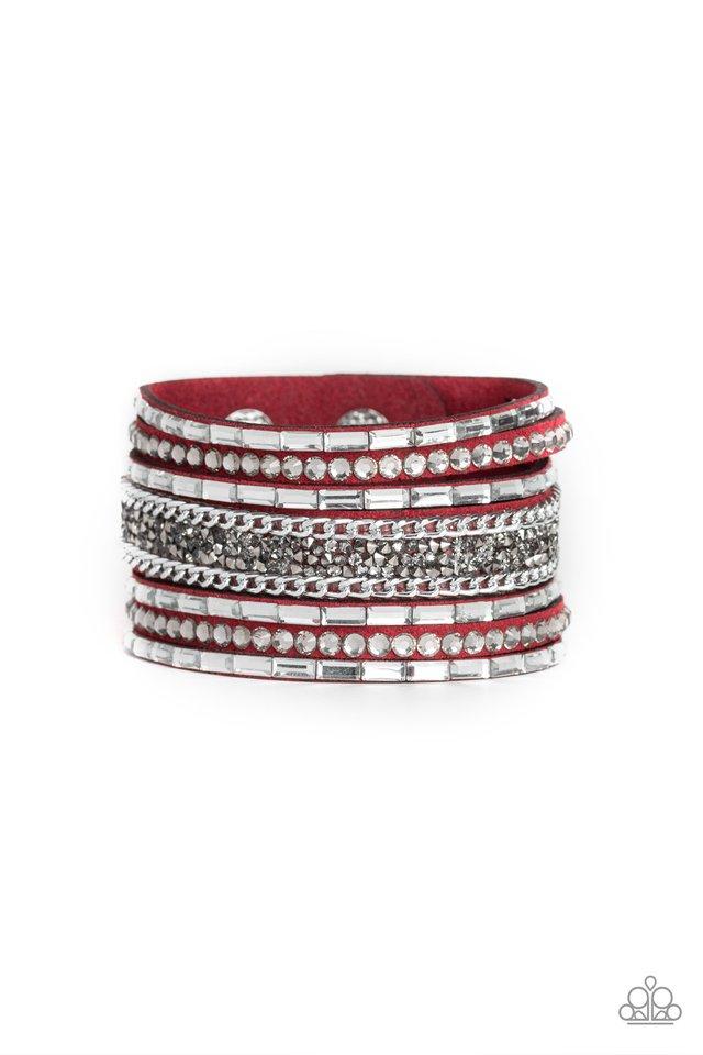 Rhinestone Rumble - Red - Paparazzi Bracelet Image