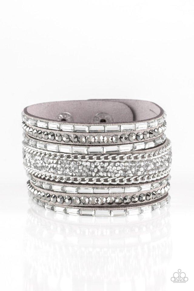 Rhinestone Rumble - Silver - Paparazzi Bracelet Image