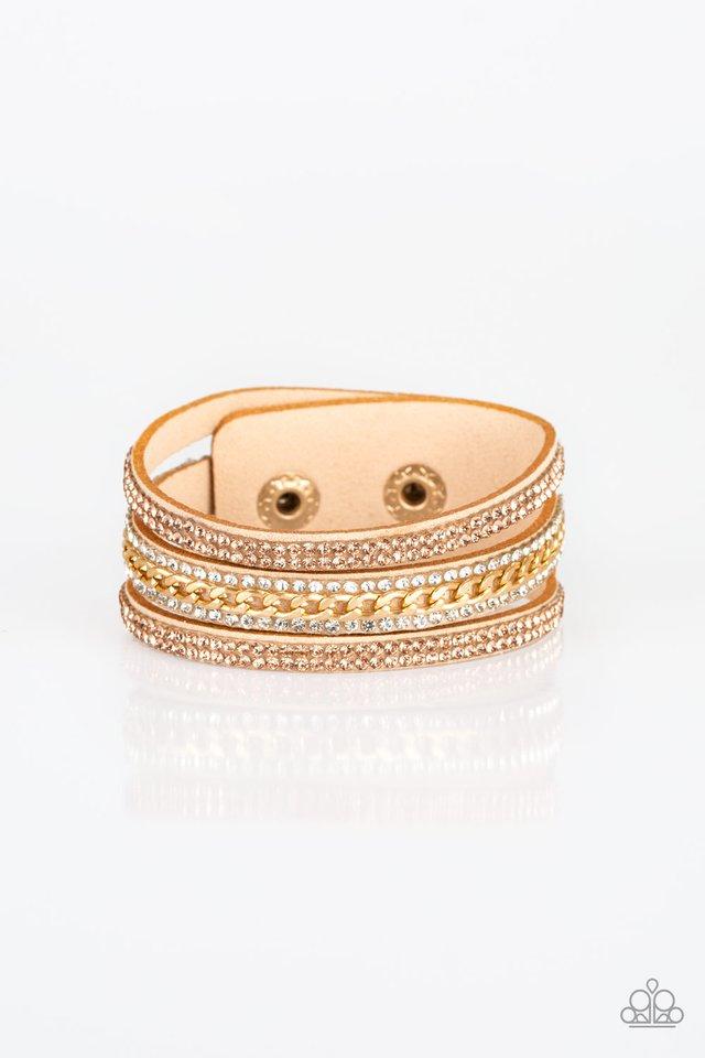 Rollin In Rhinestones - Gold - Paparazzi Bracelet Image