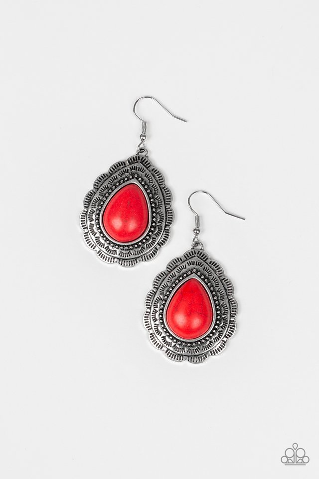 Mountain Mover - Red - Paparazzi Earring Image