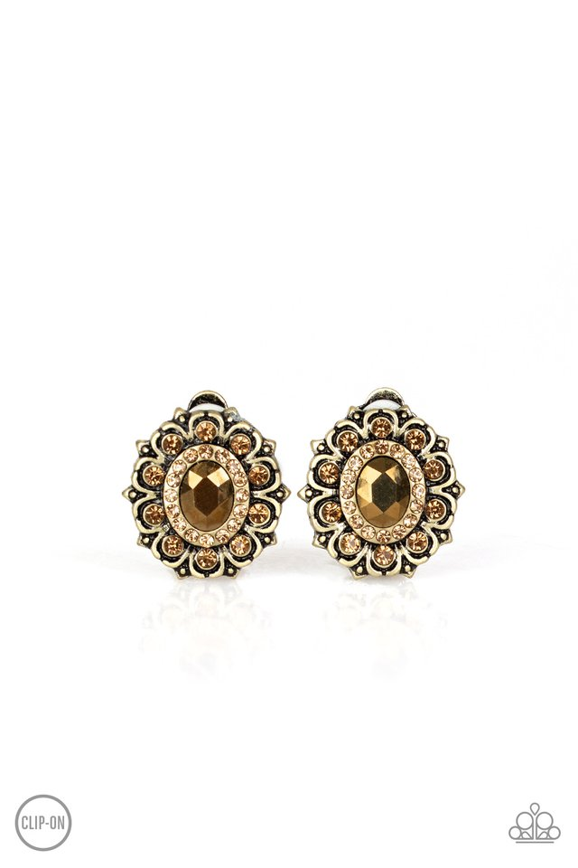 Flowering Dazzle - Brass - Paparazzi Earring Image