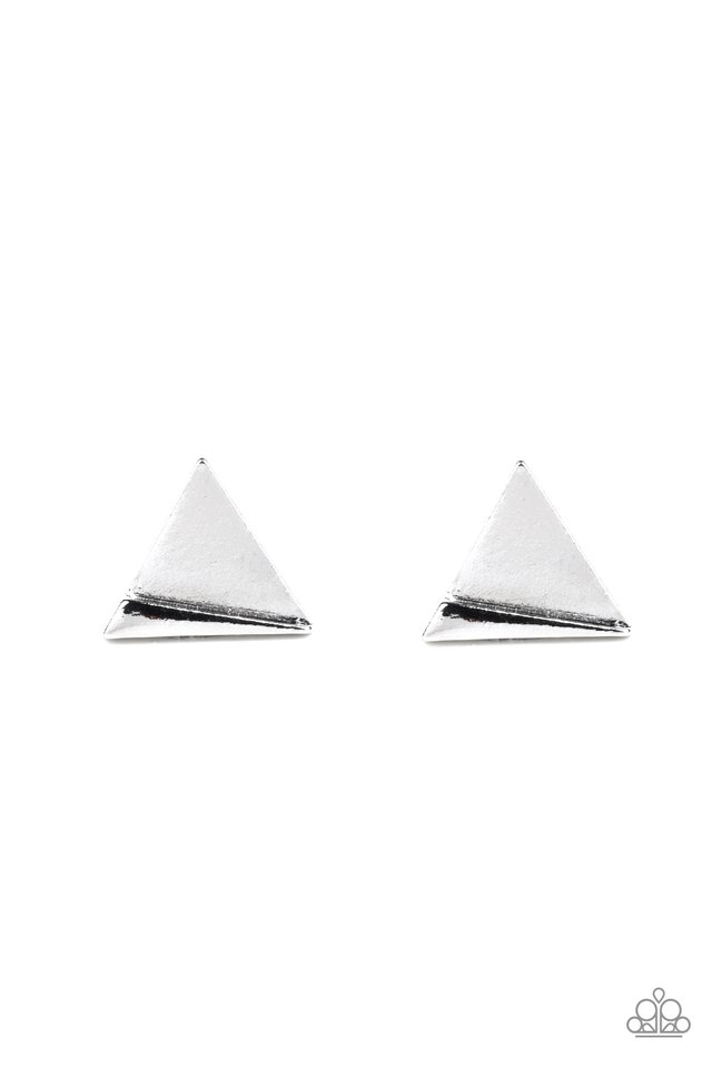 Die TRI-ing - Silver - Paparazzi Earring Image