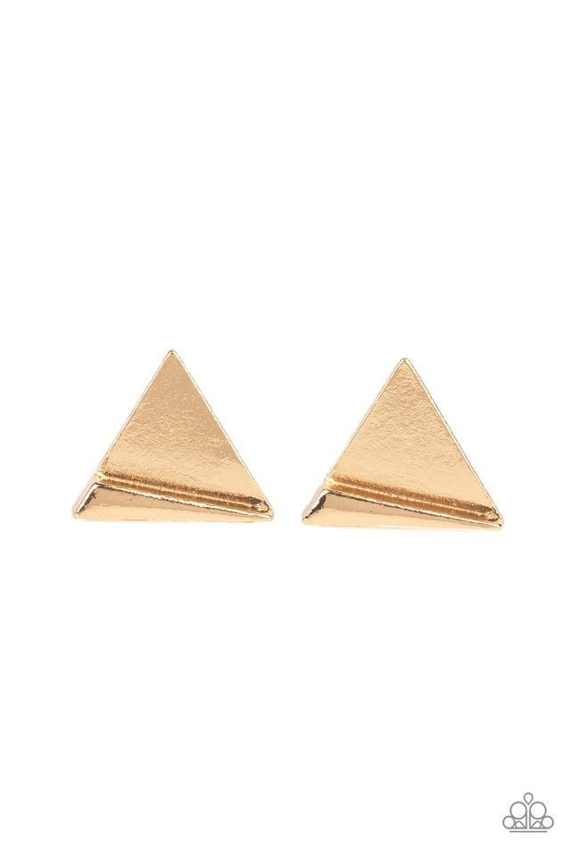 Die TRI-ing - Gold - Paparazzi Earring Image
