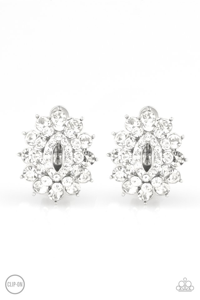 Brighten The Moment - White - Paparazzi Earring Image