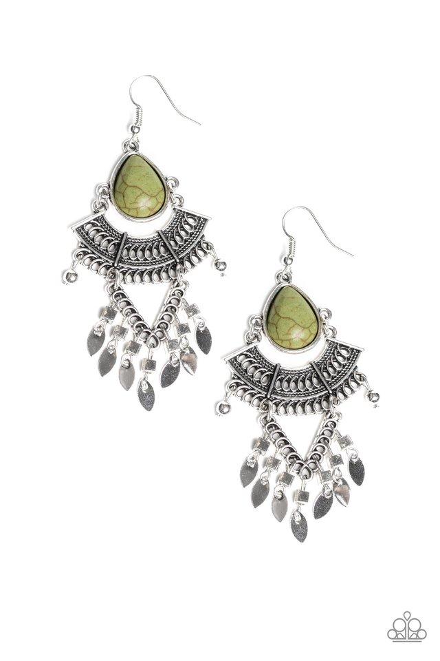 Vintage Vagabond - Green - Paparazzi Earring Image