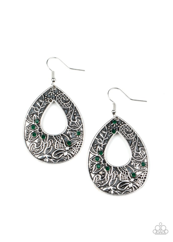 Botanical Butterfly - Green - Paparazzi Earring Image