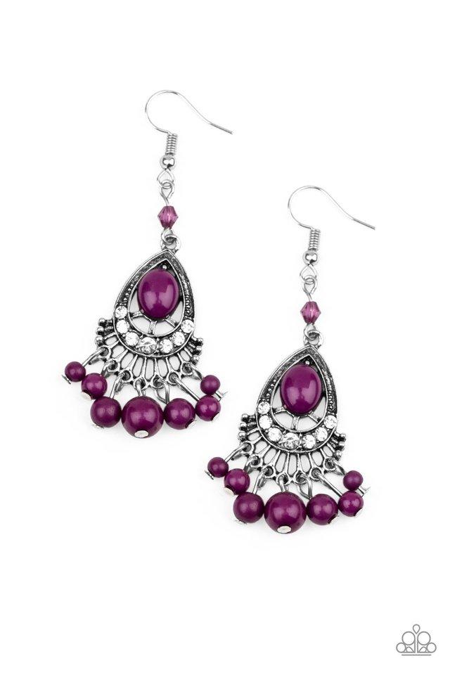 Floating On HEIR - Purple - Paparazzi Earring Image