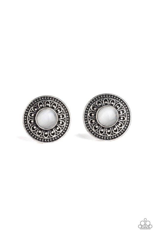Fine Flora - White - Paparazzi Earring Image