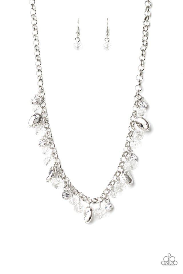 Downstage Dazzle - White - Paparazzi Necklace Image