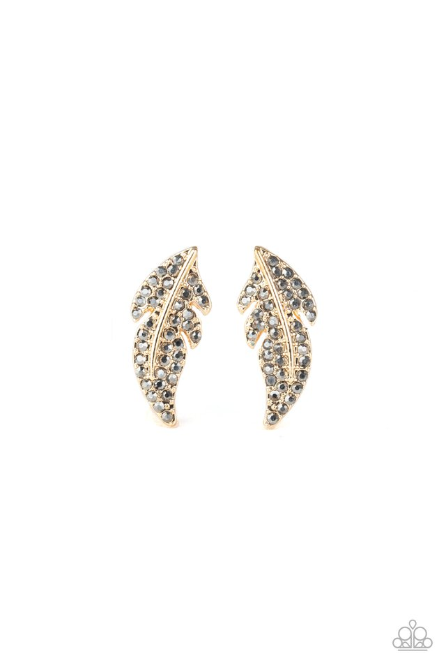 Feathered Fortune - Gold - Paparazzi Earring Image
