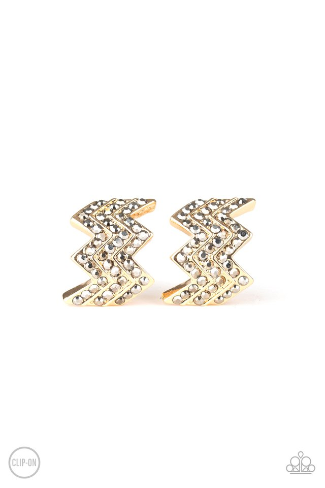 Fast as Lightning - Gold - Paparazzi Earring Image