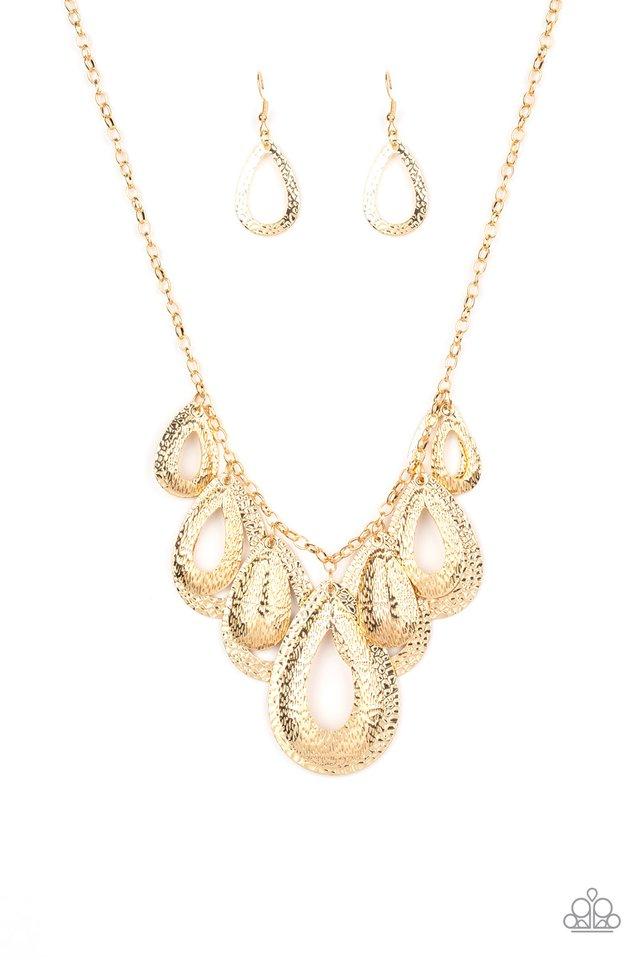 Teardrop Tempest - Gold - Paparazzi Necklace Image