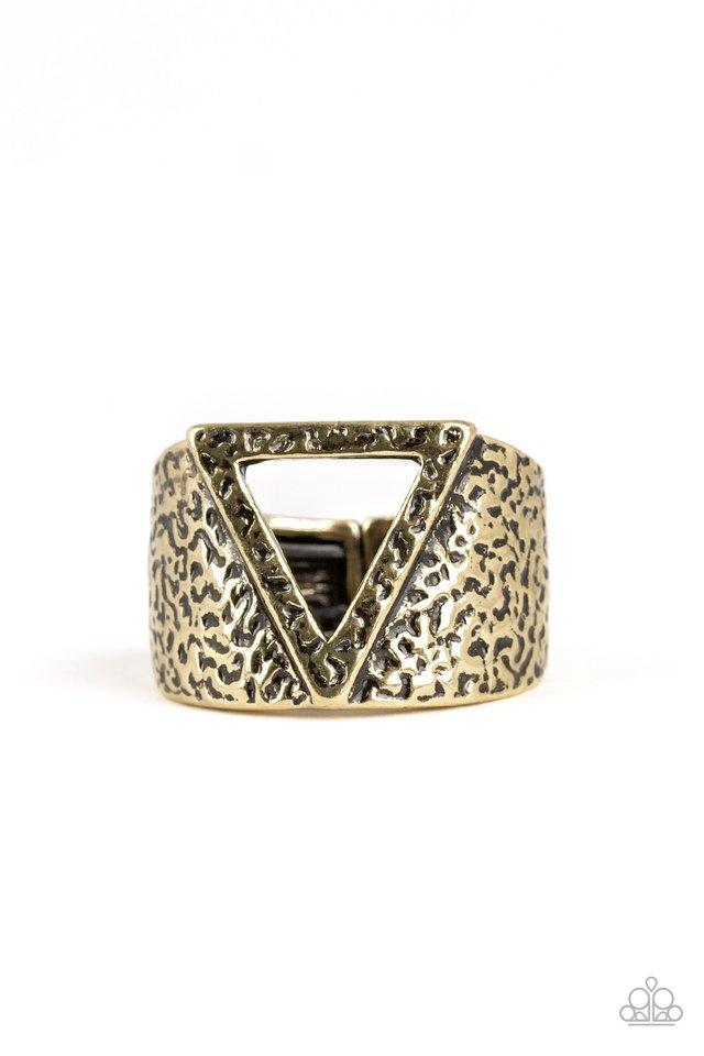 Triathlon - Brass - Paparazzi Ring Image