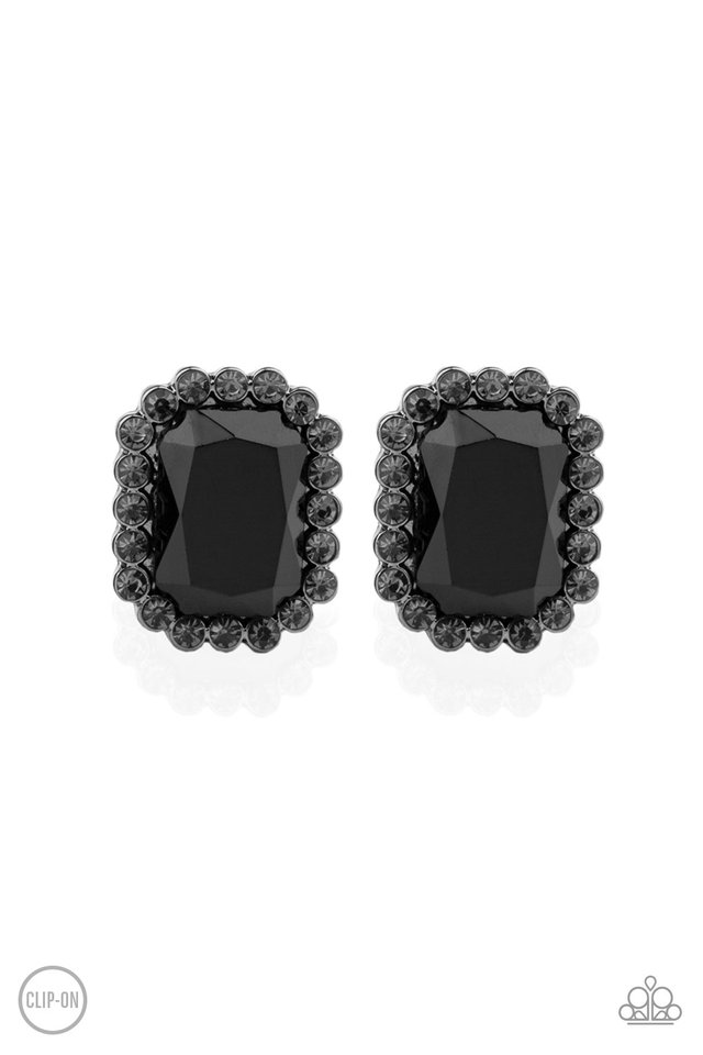 Glitter Enthusiast - Black - Paparazzi Earring Image