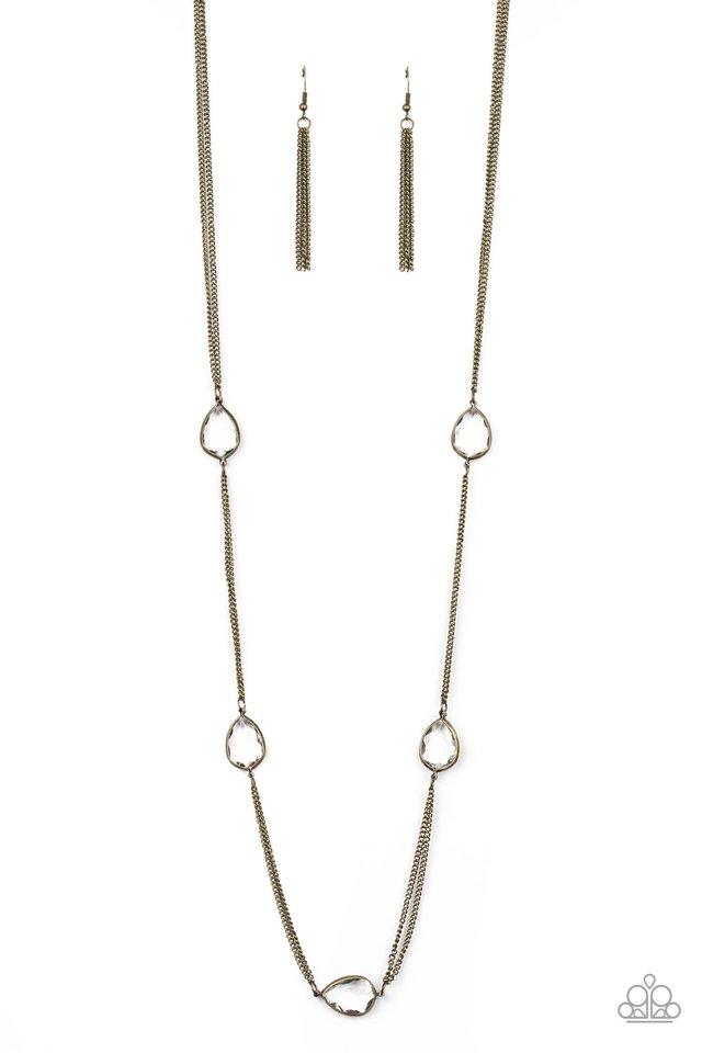 Teardrop Timelessness - Brass - Paparazzi Necklace Image