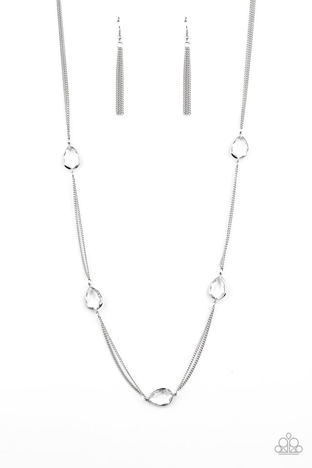 Teardrop Timelessness - White - Paparazzi Necklace Image
