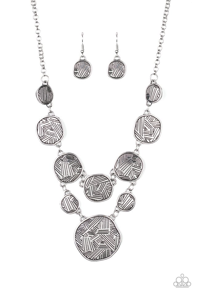 Metallic Patchwork - Silver - Paparazzi Necklace Image