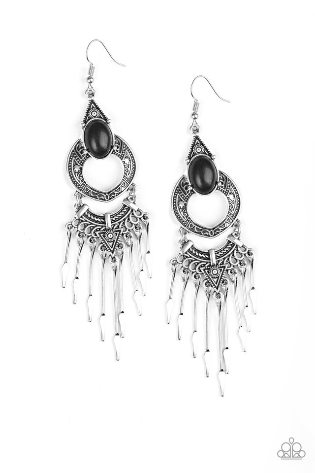 Southern Spearhead - Black - Paparazzi Earring Image