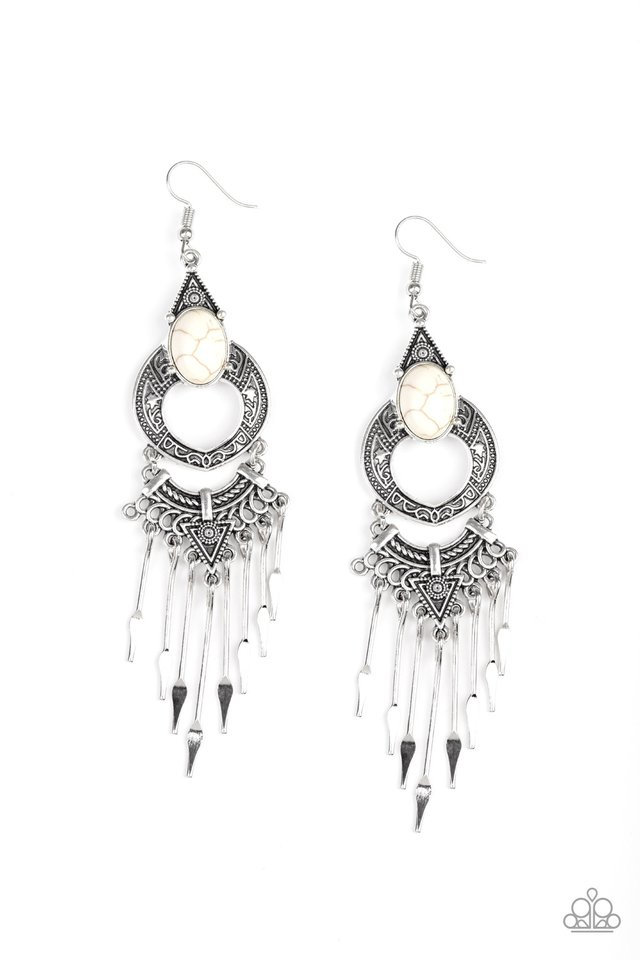 Southern Spearhead - White - Paparazzi Earring Image