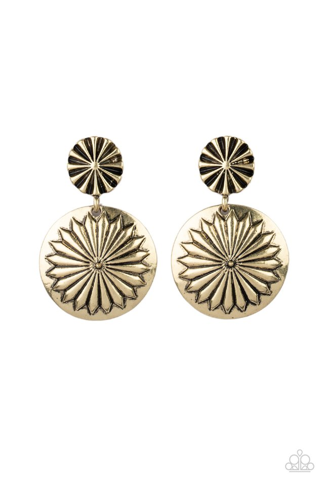 Fierce Florals - Brass - Paparazzi Earring Image