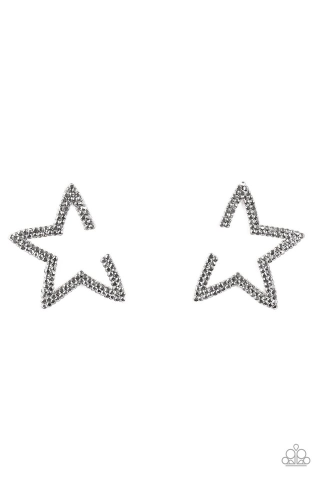 Star Player - Silver - Paparazzi Earring Image