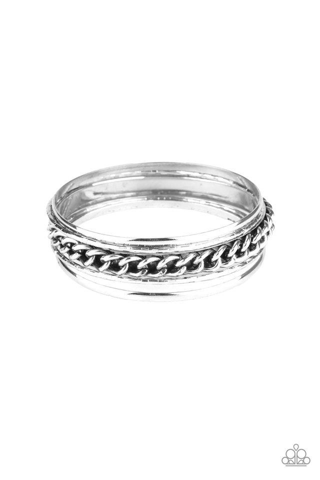 A Piece of The Action - Silver - Paparazzi Bracelet Image