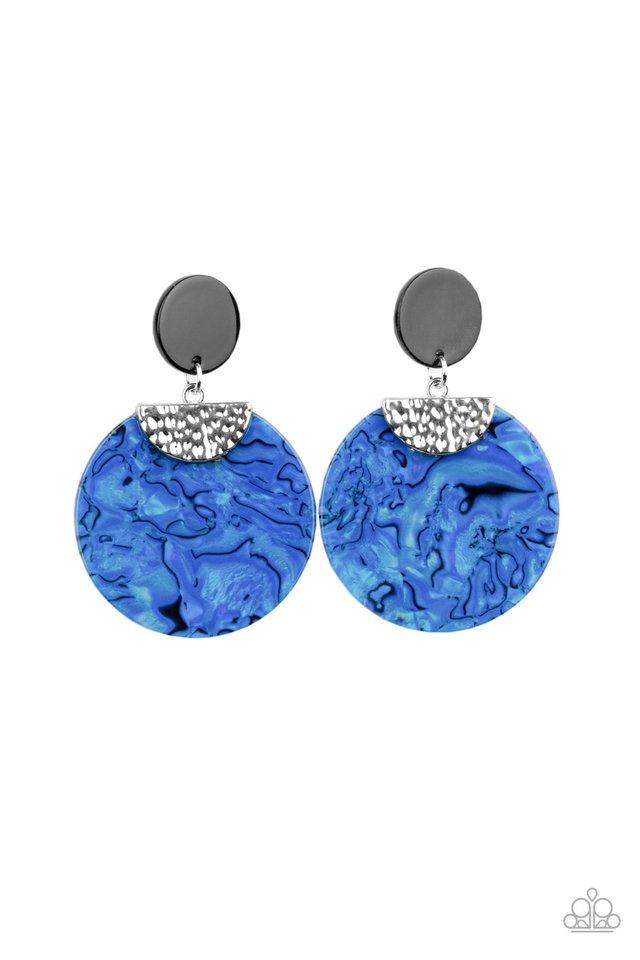 Really Retro-politan - Blue - Paparazzi Earring Image