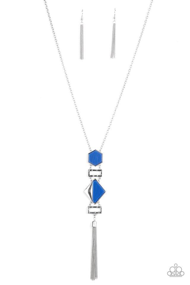STRIPE Up a Conversation - Blue - Paparazzi Necklace Image
