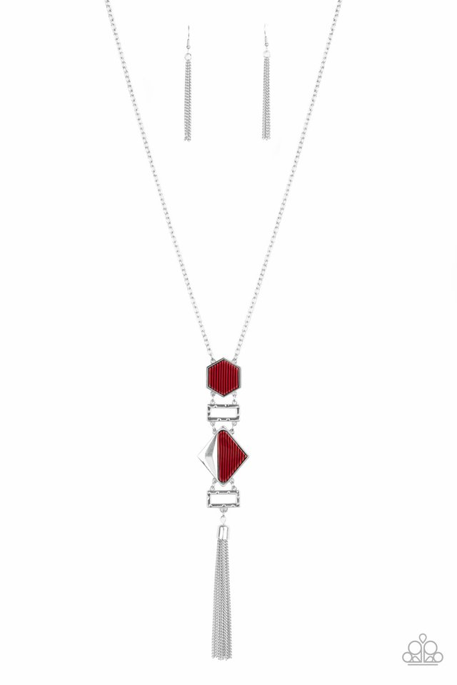 STRIPE Up a Conversation - Red - Paparazzi Necklace Image
