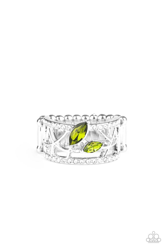 Tilted Twinkle - Green - Paparazzi Ring Image
