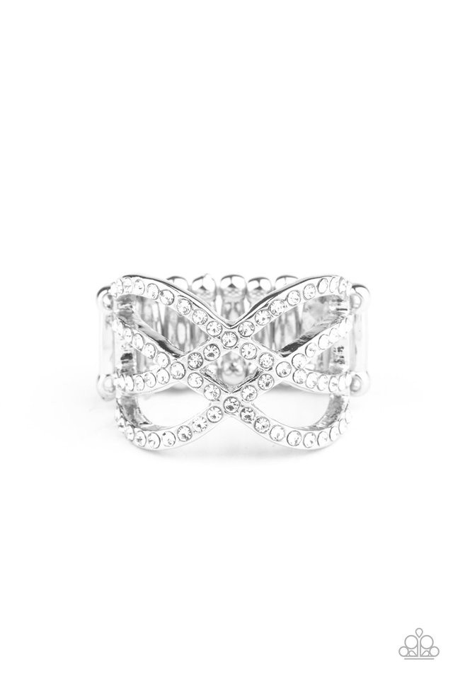 Cross Action Couture - White - Paparazzi Ring Image