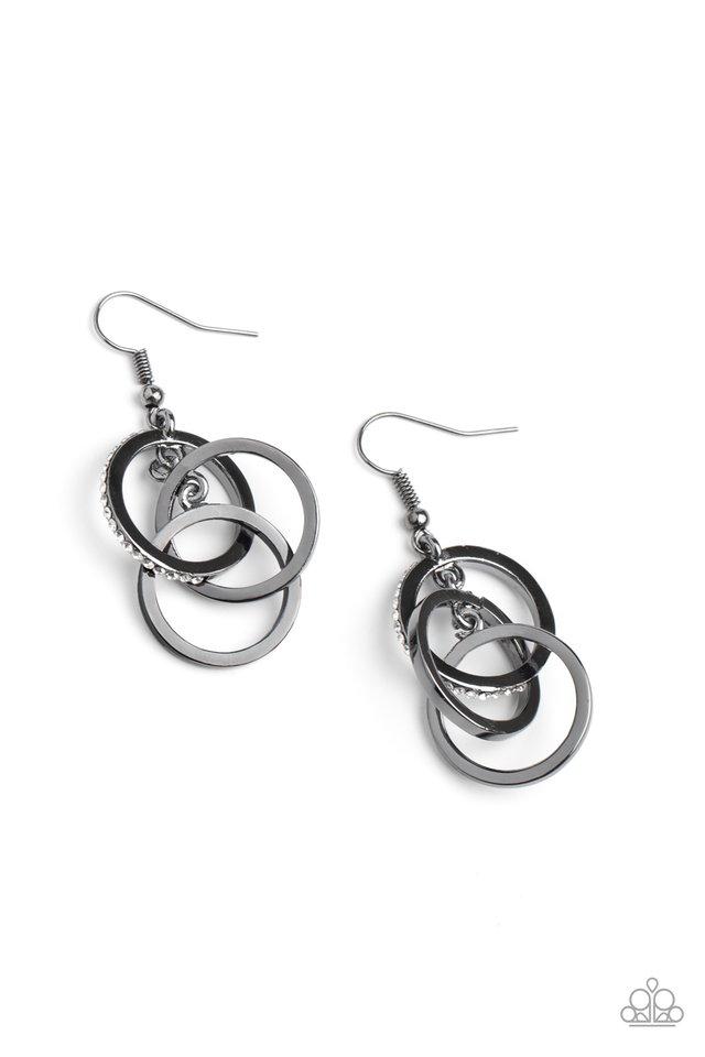 Fiercely Fashionable - Black - Paparazzi Earring Image