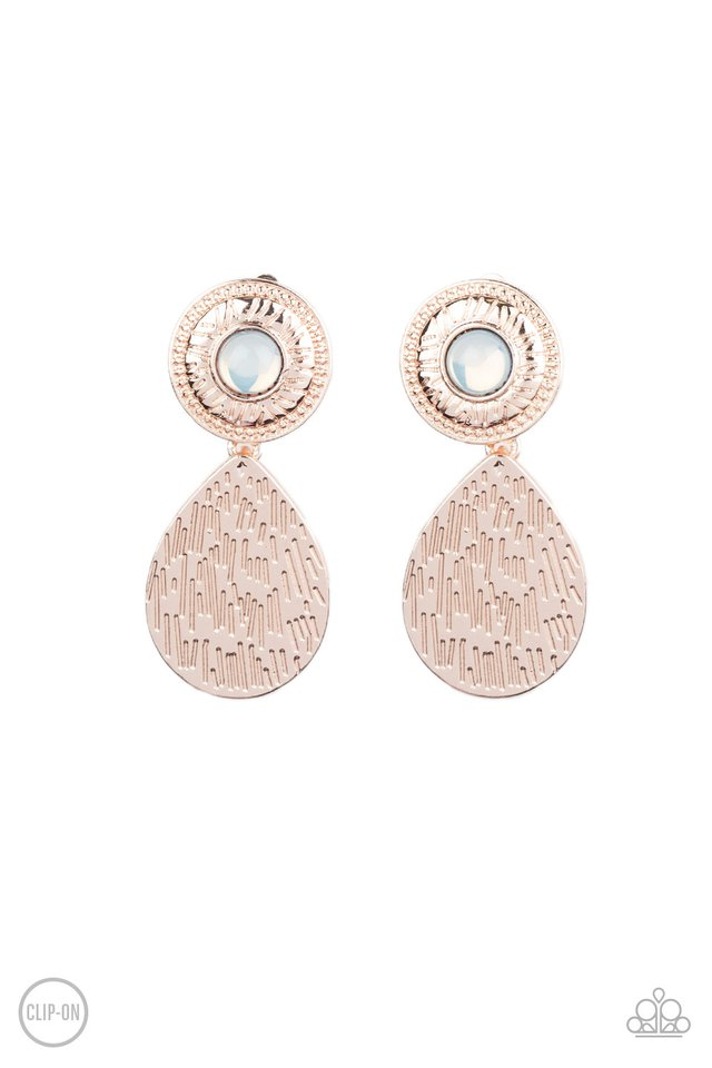 Emblazoned Edge - Rose Gold - Paparazzi Earring Image