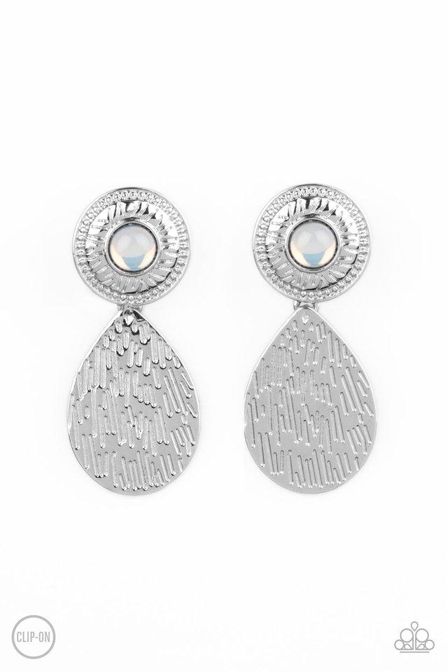Emblazoned Edge - White - Paparazzi Earring Image