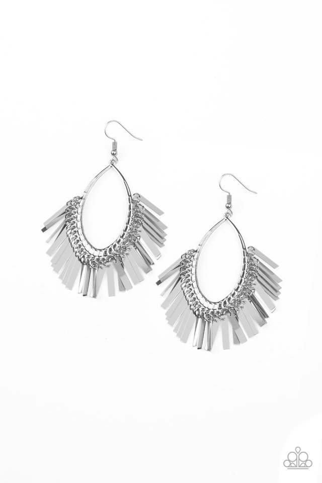 Fine-Tuned Machine - Silver - Paparazzi Earring Image