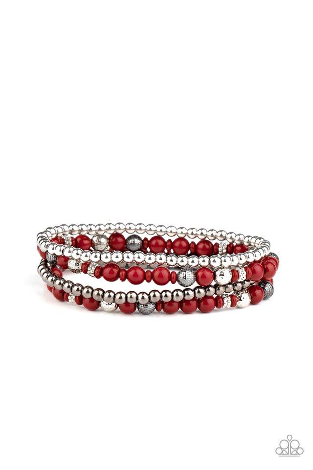 Stacked Style Maker - Red - Paparazzi Bracelet Image