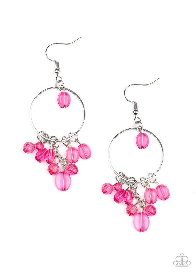 Where The Sky Touches The Sea - Pink - Paparazzi Earring Image