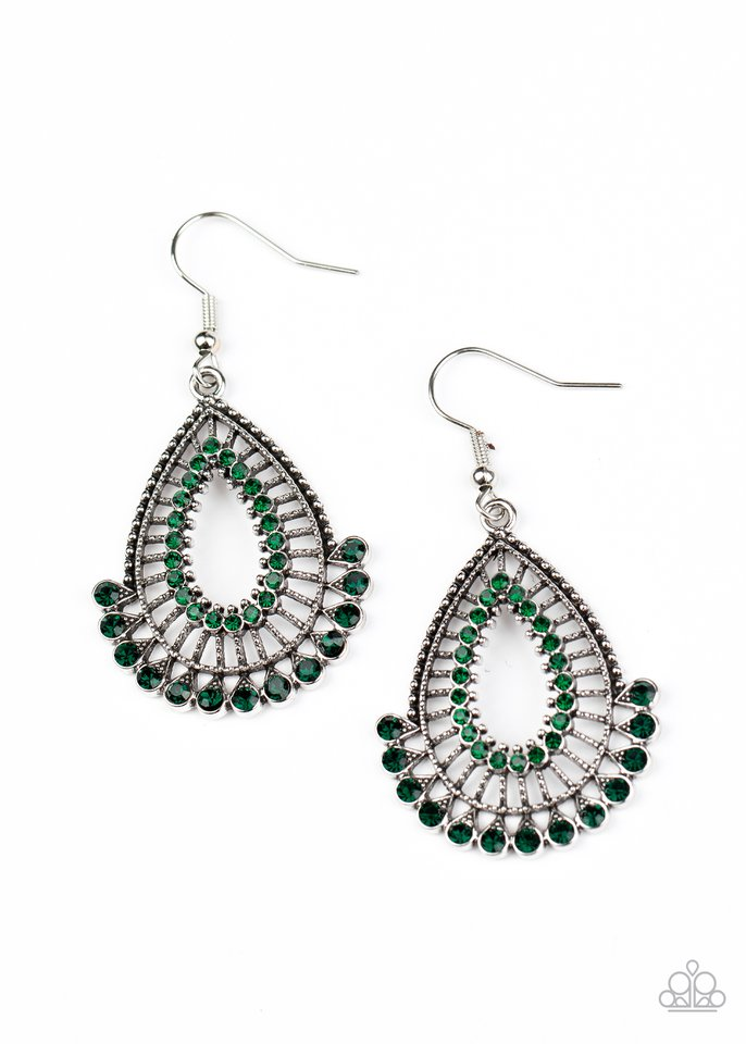 Castle Collection - Green - Paparazzi Earring Image